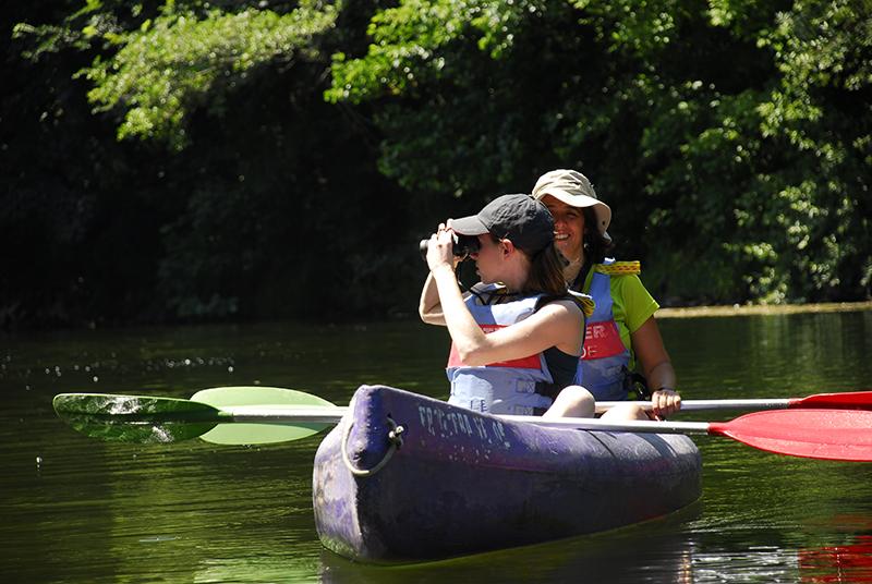 personas vistando aves en el rio sella